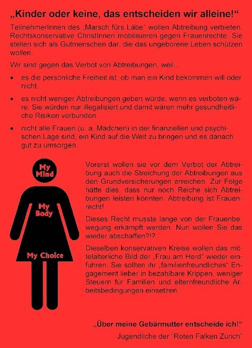 """Jugendliche der Roten Falken verteilten Flyer gegen den """"Marsch fürs Läbe"""""""